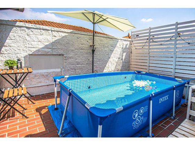 53号室、57号室のガーデンプールはお湯でもお楽しみいただけますので、露天風呂気分♪