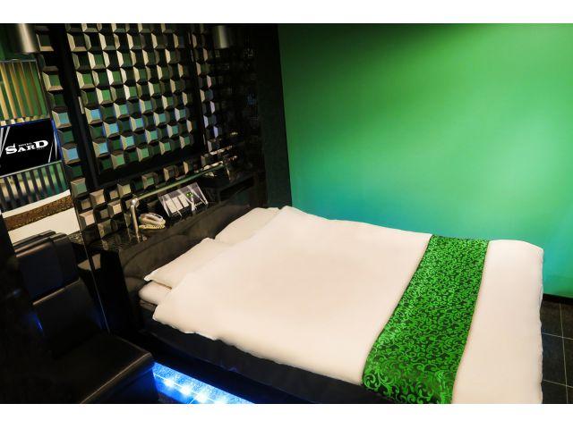 部屋タイプ1 緑基調の部屋
